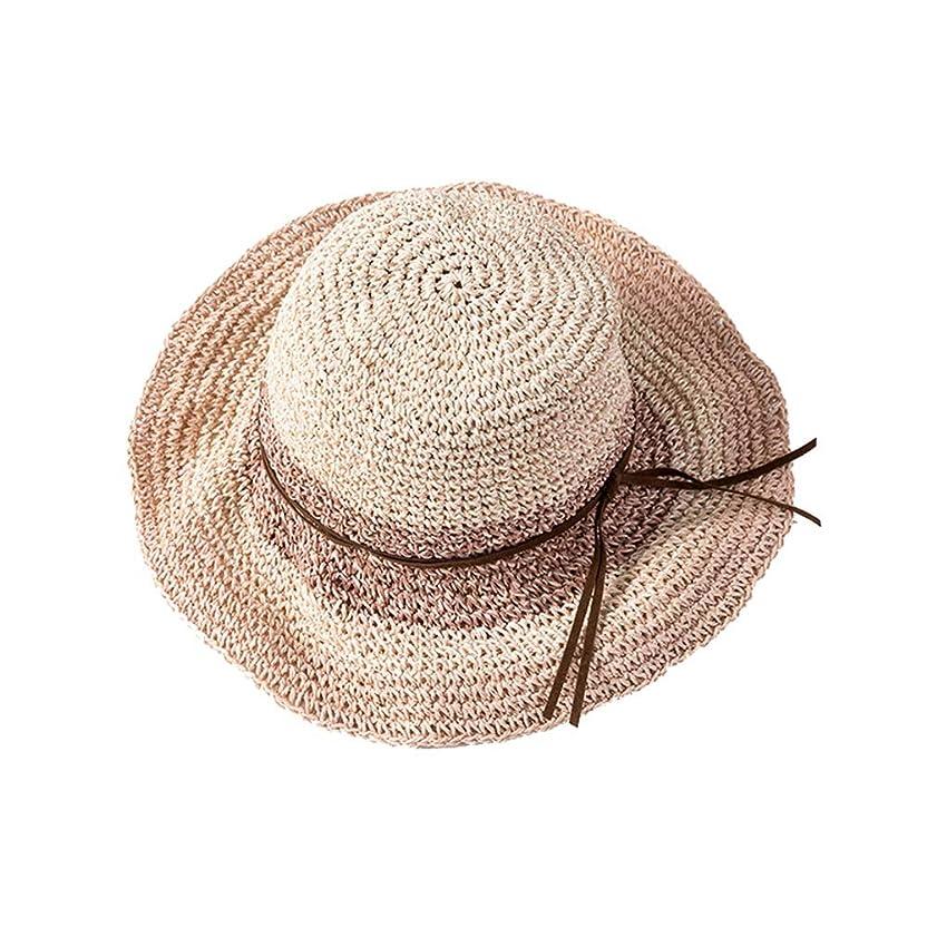 スケッチ浸した振動させる太陽の帽子女性折りたたみ麦わら帽子小さな新鮮な色マッチング太陽の帽子女性旅行海辺ビーチ帽子休日の太陽の帽子 (Color : Pink)