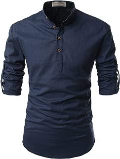 Transform Roll-Up Sleeve Mandarin Henley Neck Linen Shirts