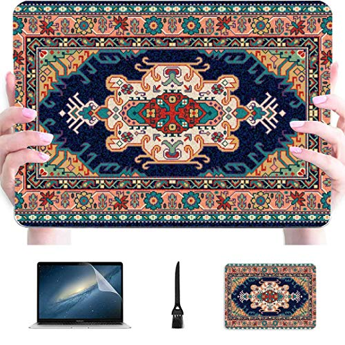 Macbook Pro Case 2015 Colorful Oriental Mosaic Rug Traditional Folk Plastic Hard Shell Compatible Mac Macbook Pro Hard Cover Protection Accessories For Macbook With Mouse Pad