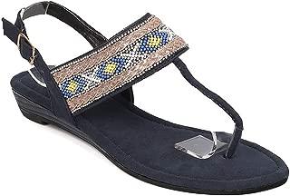 Womens Sandals T-Strap Buckle Bohemia Flip Flops Summer Beach Flats Shoes