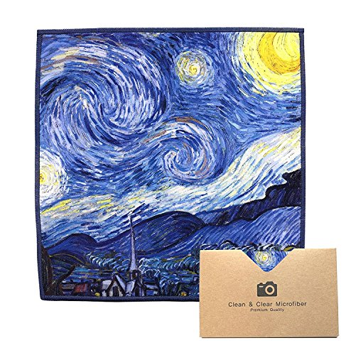 Extra Large [4 Pack] Classic Art (Vincent Van Gogh Starry Night) - Ultra Premium Quality Microfiber Cleaning Cloths (Best for Camera Lens, Glasses, Screens, and All Lens.)