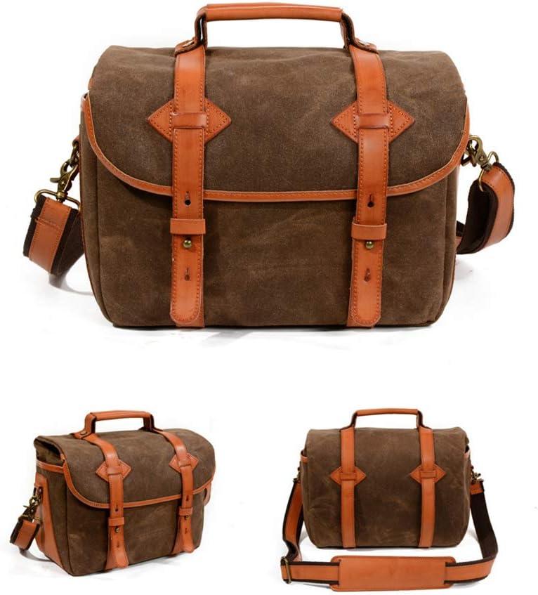 BSWOME Mens Canvas Leather DSLR SLR Vintage Camera Messenger Bag Waterproof DSLR Camera Shoulder Bag,Coffee