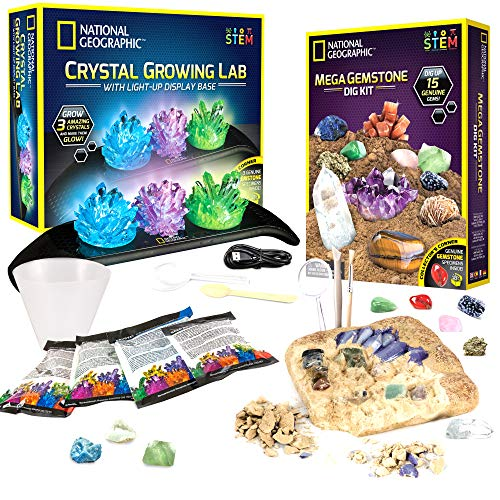 NATIONAL GEOGRAPHIC Mega Gemstone Dig and Crystal Growing Kits - Excavate 15 Real Gems, Grow 3 Vibrant Colored Crystals, Includes Full-Color Learning Guides, Great STEM Science Gift for Girls & Boys