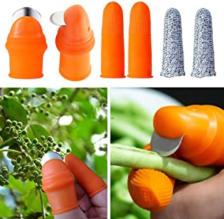 BIUZKO Garden Silicone Thumb Knife, Separator Finger Knife with Anti-Cut Finger Cover, Fruits and Vegetables Plants Picker Tools Gardening Hand Tools - 6 PCS, Gifts for Gardeners - Small