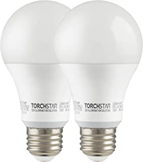TORCHSTAR 15W Garage Door Opener LED Bulb, 100W Equivalent LED A19 Light Bulb, 1600lm Ultra-Bright 3000K Warm White, Non-Dimmable, E26 Base, UL-Listed, Damp Location Rated, Pack of 2