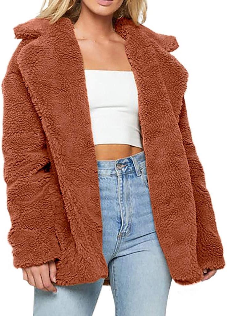 Kangma Womens Ladies Warm Faux Fur Coat Jacket Winter Solid Parka Outerwear