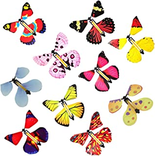10 PCS Magic Fairy Flying Butterfly in the Book, Butterfly Rubber Band Powered Wind up Butterfly Toy, Novelty Wind Up Toys for Party Great Gag Gift Stocking Stuffer for Kids Boys Girls (Random Color)