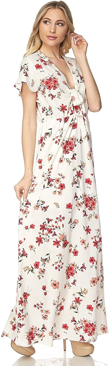 Embrace Women's SexyTie Front Floral Print Maxi Dress White
