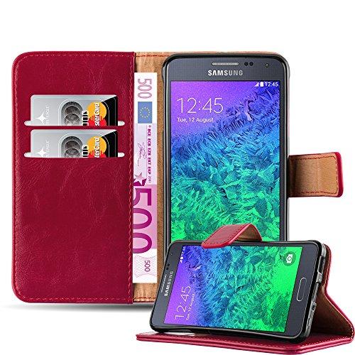 Cadorabo Funda Libro para Samsung Galaxy Alpha en Rojo Burdeos – Cubierta Proteccíon con Cierre Magnético, Tarjetero y Función de Suporte – Etui Case Cover Carcasa