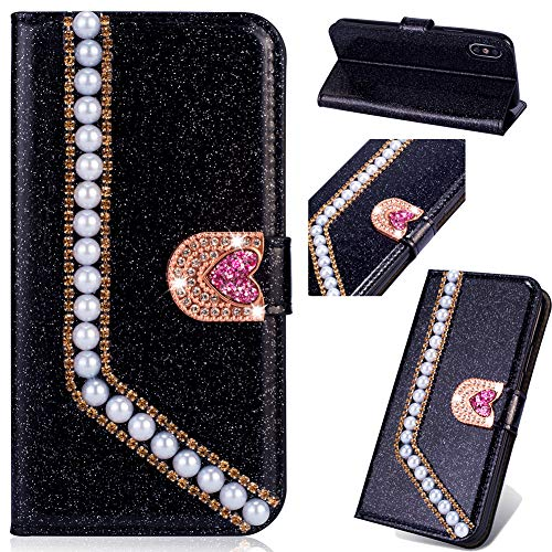 Flip Ledertasche für Samsung S10 Plus,Stand Funktion Diamond Loves Sparkle Billig Glitter Glitzer Musterg Soft Slim Retro Bookstyle Karteneinschub Magnet Wallet Hülle Schutzhülle