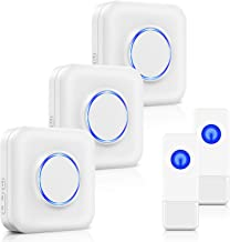 BITIWEND Wireless Doorbell Kit,Door Bell Operating at 1000 Feet with 52 Chimes,4 Level Volume, 3 Receivers & 2 Weatherproof Push Buttons with Sound and LED Flash,Low Power Consumption