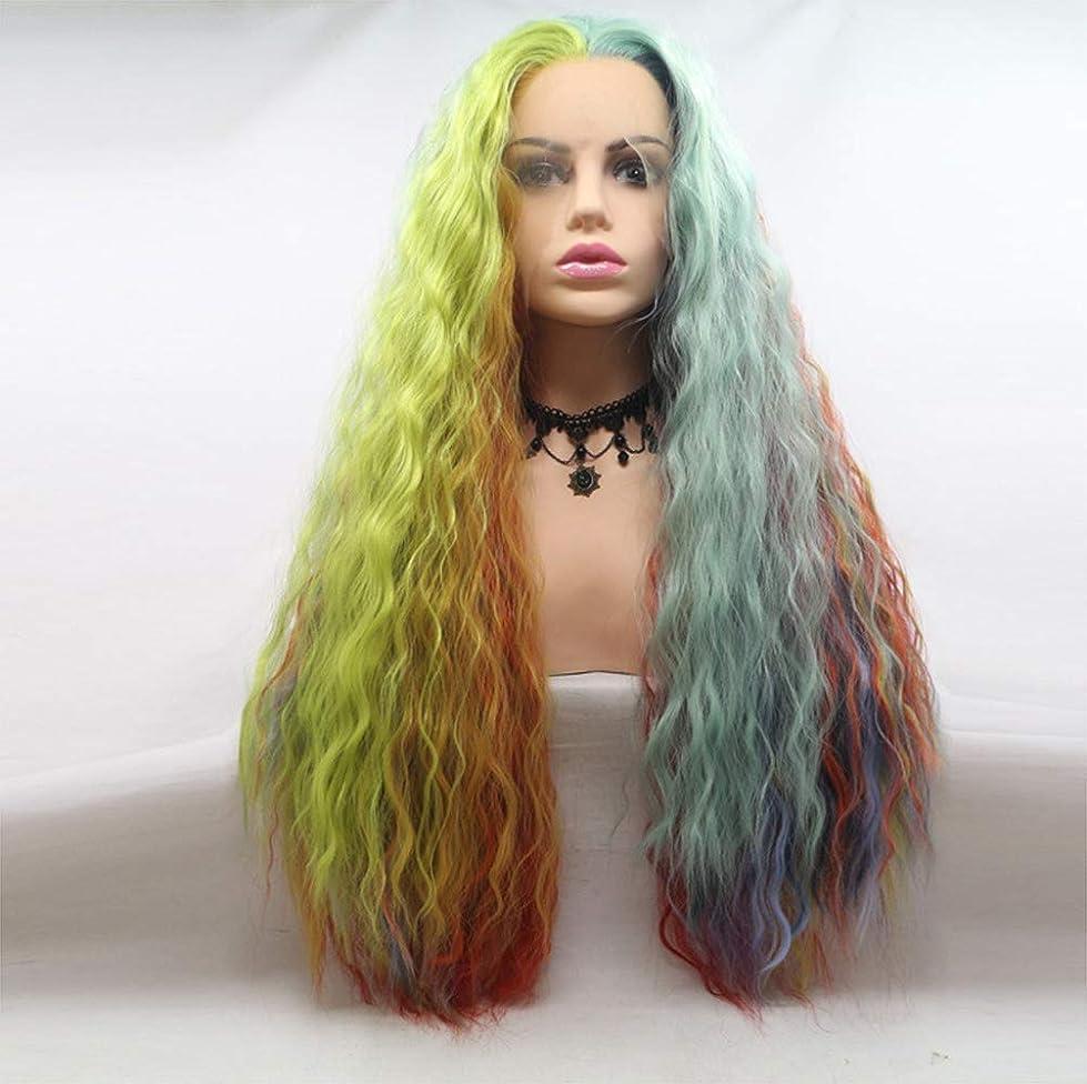 の頭の上審判調査女性かつらナチュラルヘアラインとベビーヘアーで摘み取られるための長い自然な波状の合成かつら