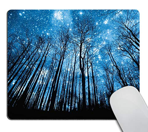 Smooffly Gaming Mousepad Psychedelic Starry Night Forest Mouse pad, Fantastic Galaxy Landscape Mouse pad Non-Slip Rubber Rectangle Mouse Pads for Computers Laptop