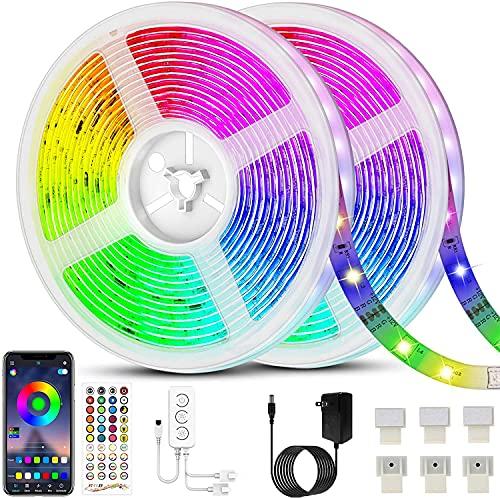 20M Tiras LED RGB 5050, Bluetooth Musical Tiras LED Tiras de Luces LED Iluminación, Control de APP y Remoto Control de 40 Teclas, 16 Millones de Colores, Modo de Horario [Clase de eficiencia energética A+++