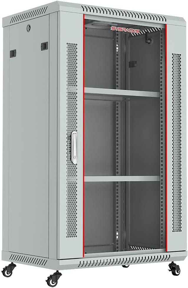 Sysracks - Server Rack - Wall Cabinet - 18 U Wall Mount Rack Enclosure with Fans - Audio Rack - Network Rack - 24 Inch Depth AV Cabinet - with Casters - PDU - Shelf - Locking Cabinet - Gray