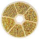 PandaHall Circa 900 pz Oro Anelli di Ferro Split Ring a Doppio Anello 4mm 5mm 6mm 7mm 8mm 10mm Collegamento Chainmail per Fare Gioielli