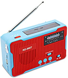Goofly Multiple Use Solar Powered Or Power Generation by Hand FM AM Radio with 1LED Flashlight USB Emergency Charger Emerg...