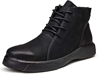 SHENYUAN Men's Ankle Boots Round Toe Faux Fleece Inside Outsole Leisure Shoes Work or Casual Wear Conventional Optional) (Color : Black, Size : 46 EU)