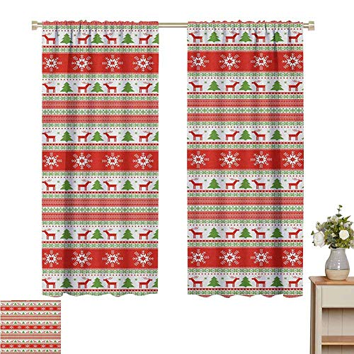 Blackout Curtains for Living Room Windproof Curtain Traditional Reindeer Xmas Tree Snowflake Border Knitted Seem Pattern Suitable for Boys and Girls Rooms Set of 2 Panels W55 x L62