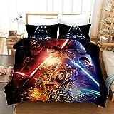 GDGM - Juego de cama para niños (funda nórdica de 135 x 200 cm, funda de almohada de 75 x 50 cm, cierre de cremallera), diseño de Star Wars, b, 135x200cm-2pcs