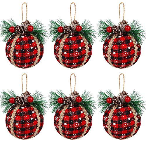 Iceyyyy 6PCS Christmas Plaid Ball Ornaments - 3 Inch Black & Red Buffalo Plaid Fabric Ball Ornaments with Pine Cones and Greenery, Plaid Christmas Tree Hanging Ball Ornaments Festive Decorations