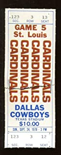 1978 St. Louis Cardinals v Dallas Cowboys Ticket Stapled 9/24 Texas Stadium