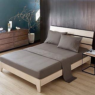 Couvre lit Lot Drap de lit Hôtel Ensemble de draps 4 pièces brodé avec drap-housse à poche profonde - Draps en microfibre ...
