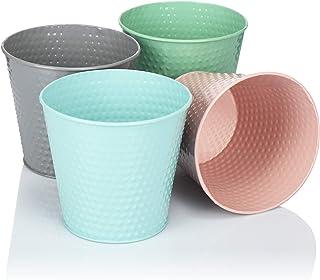 com-four® Maceta 4X Hecha de Metal en Colores Brillantes - Maceta de Hierbas - Mini Cubo - Ø 15.5 x 14.5 cm - (la selección de Colores varía) (04 Piezas - Gris. Rosa Verde Azul Claro)