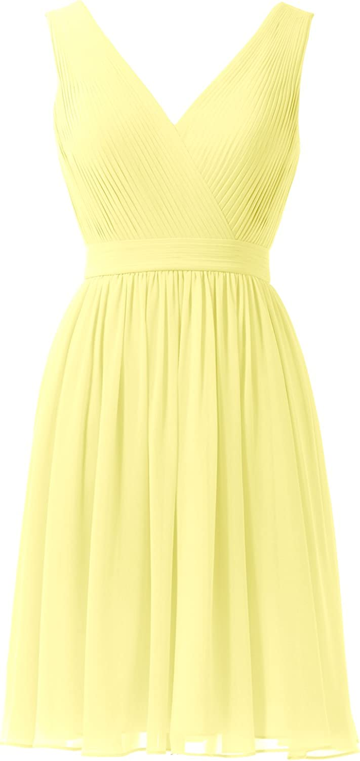 Alicepub Women's VNeck Bridesmaid Dress Short Cocktail Party Prom Gown Sleeveless