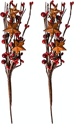 Mini Artificial Plant Stems Fake Winter Christmas Berries Decor for DIY Garland and Holiday Wreath Ornaments Red Holly Berry Metal Star Picks Set of 6-9inch Twigs Country Primitive Home Decor