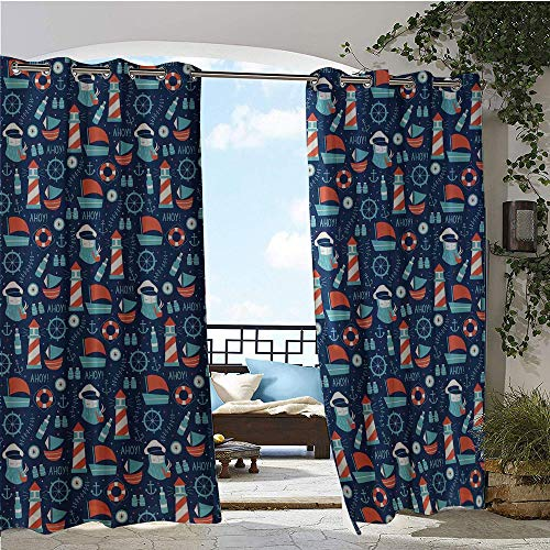 Outdoor- Free Standing Outdoor Privacy Curtain, Nautical Arrangement with Ship Captain Boats Helm and Compass, for Front Porch Covered Patio Gazebo Dock Beach Home W84 x L108 Inch Dark Blue Vermilion