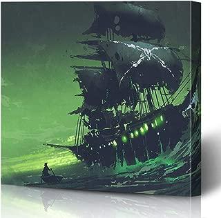Ahawoso Canvas Prints Wall Art Printing 8x8 Green Dark Night Scene Ship Watercolor Ocean Painting Dreamlike Vessel Sailing Artistic Black Oil Painting Artwork Home Living Room Office Bedroom Dorm