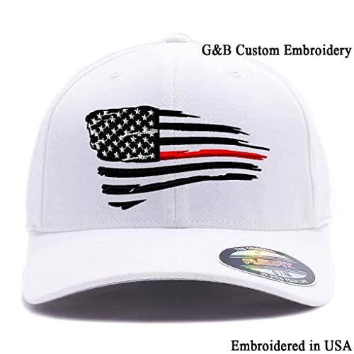 adb89bc9 Flexfit Thin Red Line Waving USA Flag. Embroidered. 6477 Wool Blend Cap