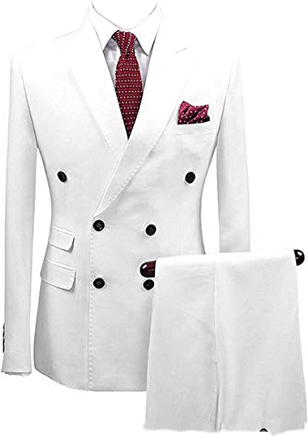 Fitty Lell Men's Wedding Suits Double-Breasted Blazer Business Street Suit Jackets Groomsmen 2 Pieces