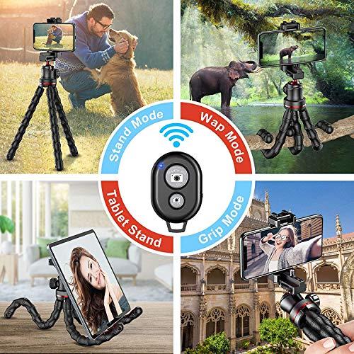 Cocoda Handy Stativ, Flexibel Selfie Stick für Smartphone, Bluetooth Tripod mit Fernauslöser, Tragbar Kamera Stativ Dreibein für Camera & Gopro, Kompatibel mit iPhone 12 Pro Max/11/XR, Galaxy S20 usw