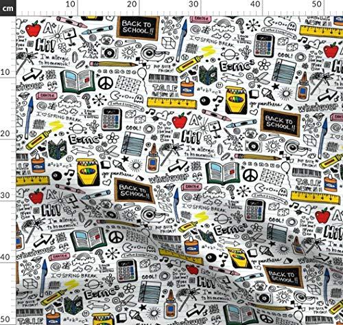 Schule, Zubehör, Schulsachen, Kritzeleien, 80Er Jahre, Graffiti Stoffe - Individuell Bedruckt von Spoonflower - Design von Pennycandy Gedruckt auf Baumwollstoff Klassik