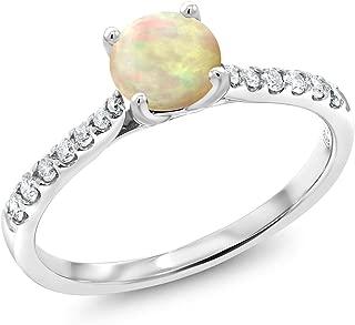 Gem Stone King 0.37 Ct Cabochon White Ethiopian Opal G/H Lab Grown Diamond 10K White Gold Engagement Ring