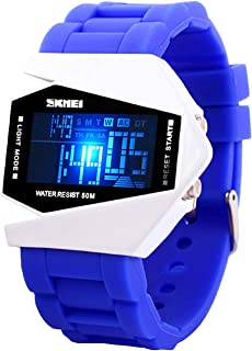 Auspicious beginning Kids Watch LED Sport Personalized Creative 50M Waterproof Noctilucent Airplane Blue Digital Wristwatch with 7 Colorful LED Lights Size S