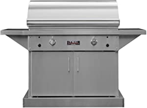 TEC Sterling Patio 2 FR Infrared Grill on Stainless Steel Pedestal with Two Side Shelves and Full Warming Rack (STPFR2LPCAB-PFR2WR39), Propane Gas