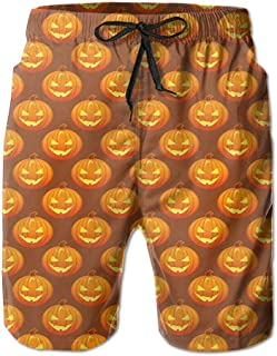 khgkhgfkgfk Mens Cool Pumpkin Halloween Pattern Shorts Elastic Waist Pockets Lightweight Beach Shorts Boardshort Medium