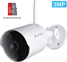 Security Camera Outdoor - HD 2K 3MP 1536P Bullet Camera 2.4G IP66 Waterproof 50ft Night Vision Home Surveillance IP Camera Two-Way Audio, Motion Detection Alarm/Recording, Including 64GB SD Card