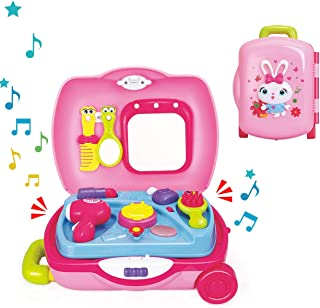 Zooawa Make Up Case and Cosmetic Set for Little Girls Pretend Play Kids Beauty Salon - Pink