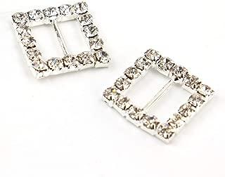 JETEHO Pack of 50 Square Silver Tone Diamante Crystal Rhinestone Buckle Chair Sash Ribbon Slider for Wedding Invitation Letter,15mm