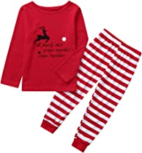 Jeash Christmas Women Mommy Kids Children Cute Deer Cartoon   A Family That Prays Together Stay Together   Letter Top+Pants Xmas Family Clothes Pajamas Sets