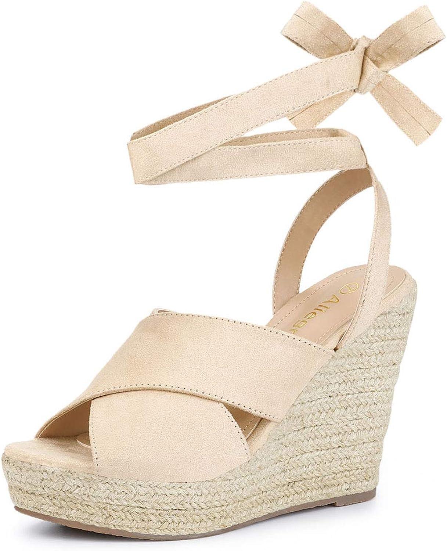 Allegra K Women's Espadrille Crisscross Platform Wedges Heel Lace Up Sandals