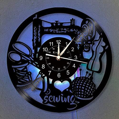 wtnhz LED-Máquina de Coser Reloj de Pared con Disco de Vinilo Reloj de Pared LED   Regalos de decoración del hogar para Amigos y Familiares   Reloj de Pared Luminoso de 7 Colores.