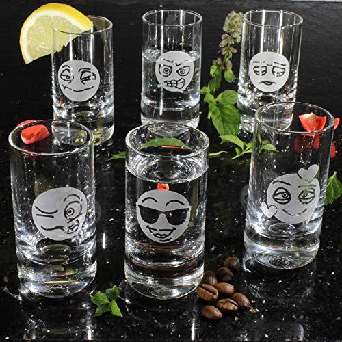 6 Schnapsgläser Smiley Set Shots Stamperl Schnaps Schnapps Wodka Tequila