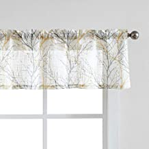 """Window Valance Curtains Yellow/Grey Tree Branch Print on Semi-Sheer White Short Valance for Kitchen 56""""W x 15"""