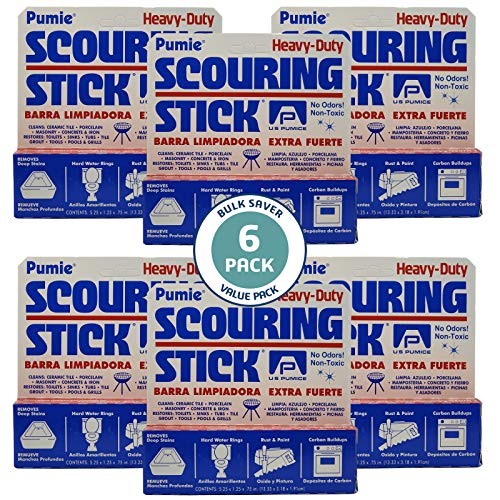 US Pumice 1001 Pumie Scouring Stick Heavy Duty HDW Remove Stains Hard Water Rings Rust and Paint Carbon Buildups 6 Pack