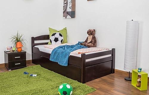 Kinderbett   Jugendbett  Easy M l  K1 2h inkl. 2. Liegeplatz und 2 Abdeckblenden, 90 x 200cm   Buche Vollholz massiv schokobraun lackiert